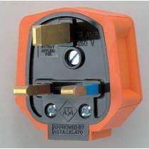 MK PF133ORG Rubber Mains Plug, Orange