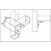 Unistrut Channel P1026, Bracket, 90Deg 2 Hole, Size:	50x47mm