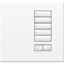 Lutron QSWE-5BRLN-AW, Wallstation, 5 Button Raise/Lower Frameless, International w/o Infra-red, Size: 86x86x27.4mm
