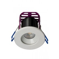 Robus LED RRA083060-01 RAMADA 8.5W Fire Rated Downlight 3000K, 60° beam angle,IP65, dim, c/w White and Brushed Chrome trim