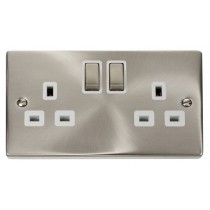 VPSC536WH Click Deco White Insert Victorian Satin Chrome 2 Gang 13A DP Switched Socket Outlet