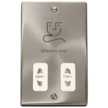 Scolmore Deco VPSC100WH Victorian 115/230V Dual Voltage in Satin Chrome with White Insert