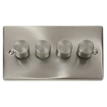 VPSC154 Click Deco Victorian Satin Chrome 4 Gang 2 Way 400W Dimmer