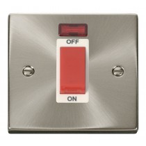 VPSC201WH Click Deco Victorian Satin Chrome 1 Gang 45A DP Switch and Neon, white insert