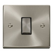 VPSC411BK Click Deco Victorian Satin Chrome 1 Gang 2 Way Switch with black insert