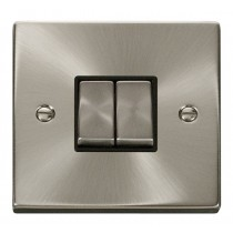 VPSC412BK Click Deco Victorian Satin Chrome 2 Gang 2 Way Switch with black insert