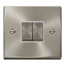 VPSC412WH Click Deco Victorian Satin Chrome 2 Gang 2 Way Switch with white insert