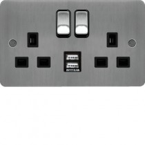 Hager WFSS82BSB-USBS 13A 2 Gang Double Pole Switched Socket c/w Twin USB Ports Brushed Steel Black Insert  - available instore and online from John Cribb & Sons Ltd