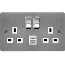 Hager WFSS82BSW-USBS 13A 2 Gang Double Pole Switched Socket c/w Twin USB Ports Brushed Steel White Insert