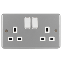 Hager Sollysta WPSS82, grey metalclad, 2 Gang Double Pole Switch Socket ( no back box)