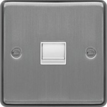 Hager WRBTMBSW Master Telephone Socket Brushed Steel White Insert