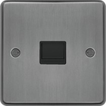 Hager WRBTSBSB Secondary Telephone Socket Brushed Steel Black Insert - available instore and online from John Cribb & Sons Ltd