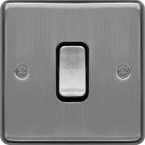 Hager WRDP84BSB 20A Double Pole Switch Brushed Steel Black Insert- available instore and online from John Cribb & Sons Ltd