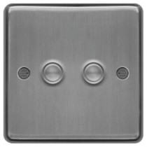 Hager WRDS2BS Dimmer Switch, 2 Gang, Size:	250W 9.5x86x86mm