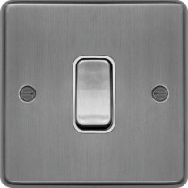 Hager WRPS12BSW 10AX 1 Gang 2 Way Wall Switch Brushed Steel White Insert