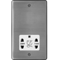 Hager WRSO100BSW 115/230V Shaver Outlet Brushed Steel White Insert