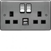 Hager WRSS82BSB-USBS 13A 2 Gang Double Pole Switched Socket c/w Twin USB Ports Brushed Steel Black Insert - available instore and online from John Cribb & Sons Ltd