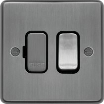 Hager WRSSU83BSB 13A FCU Switched Brushed Steel Black Insert - available instore and online from John Cribb & Sons Ltd
