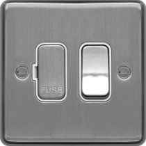 Hager WRSSU83BSW 13A FCU Switched Brushed Steel White Insert